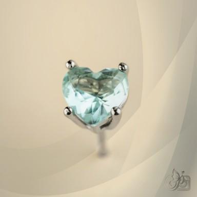 Single lobe earring 925 silver heart with light blue zircon