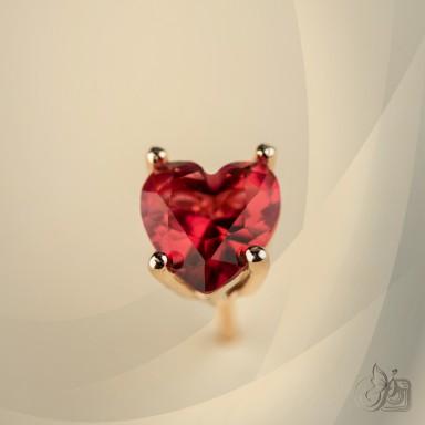 Single lobe earring 925 silver heart with red zircon