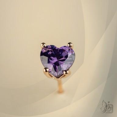 Single lobe earring 925 silver heart with lilac zircon