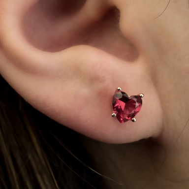 Single lobe earring 925 silver heart with red zircon