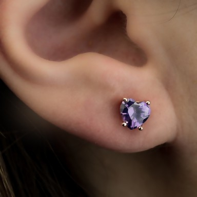 Single lobe earring 925 silver heart with lilac zircon