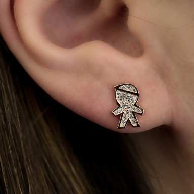 Single baby earring with white zircons in 925 silver rose gold plated