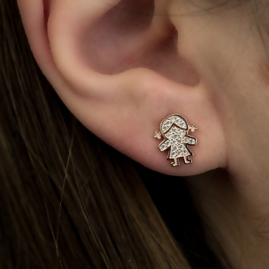Single girl earring with white zircons in 925 silver rose gold plated