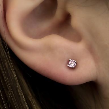 Earring single with pink zircon in silver 925 0,3 cm