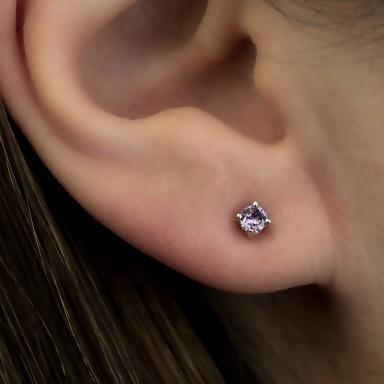 Earring single with pourple zircon in silver 925 0,3 cm