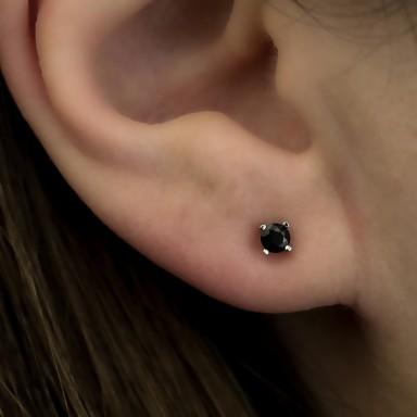 Earring single with black zircon in silver 925 0,3 cm