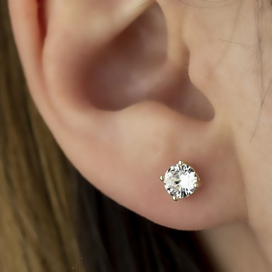 Earring single with white zircon in gold silver 925 0,5 cm