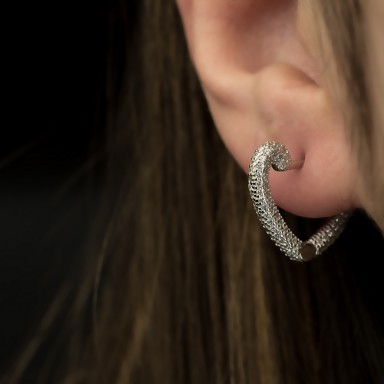 Pair of 925 silver heart earrings with zircons