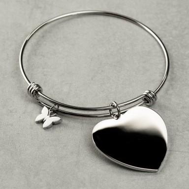 Rigid adjustable bracelet with stainless steel heart pendant