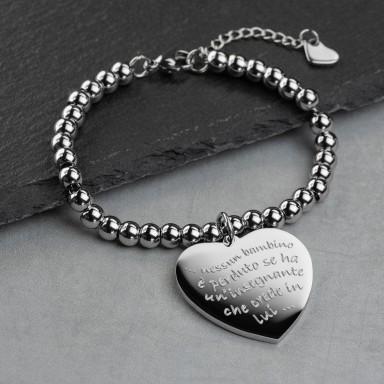 Heart teacher bracelet with stainless steel beads