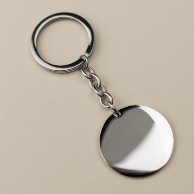 Round Keychain in stainless steel