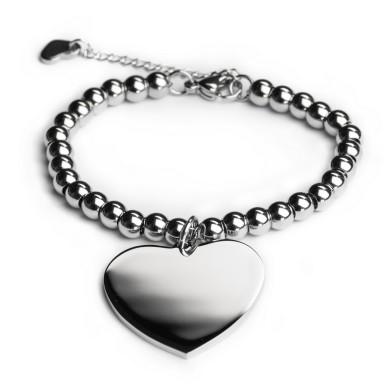 Custom bead bracelet with heart in stainless steel