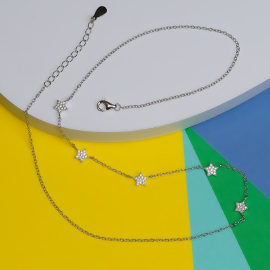 Necklace in 925 silver with hanging micro-stars
