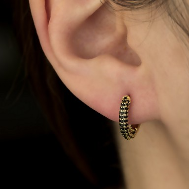 Single headband 14 mm 925 silver gold plated with black zircons