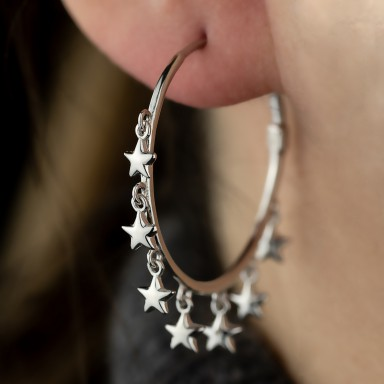 Pair of rhodium-plated 925 silver hoop earrings with stars